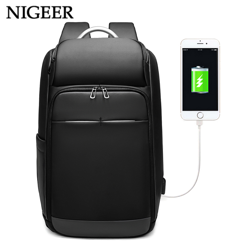 "Nigeer Men 15.6"" Laptop Backpack Water Repellent Multifunction Male Mochila Business Travel Backpacks Ubs Charging Design N0006"