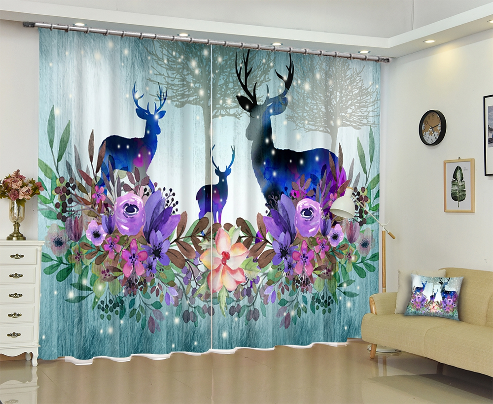 Customized Deer print Chinese Modern 3D Blackout Window Curtain Drapes For Living room Bed room Hotel Wall Tapestry Cortinas Customized Deer print Chinese Modern 3D Blackout Window Curtain Drapes For Living room Bed room Hotel Wall Tapestry Cortinas