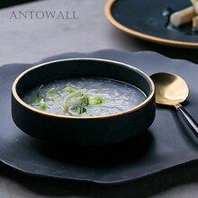 ANTOWALL Ceramic Tableware Bowl European Gold Rim Senior Green Color Food Bowl Household Restaurant Dinnerware