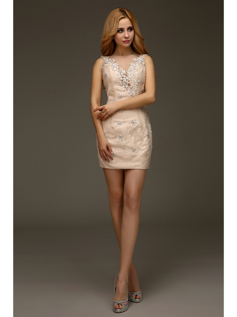 Champagne High School Party Dress Appliques Illusion Back Homecoming ...