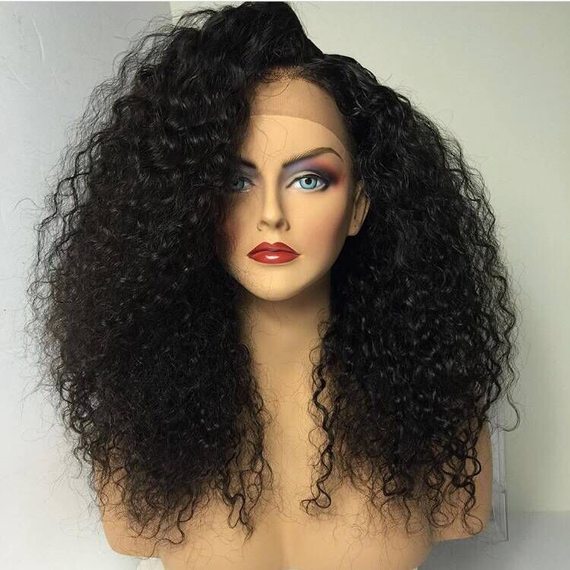 DLME Side Part Afro Black Wig Kinky Curly Synthetic Lace ...