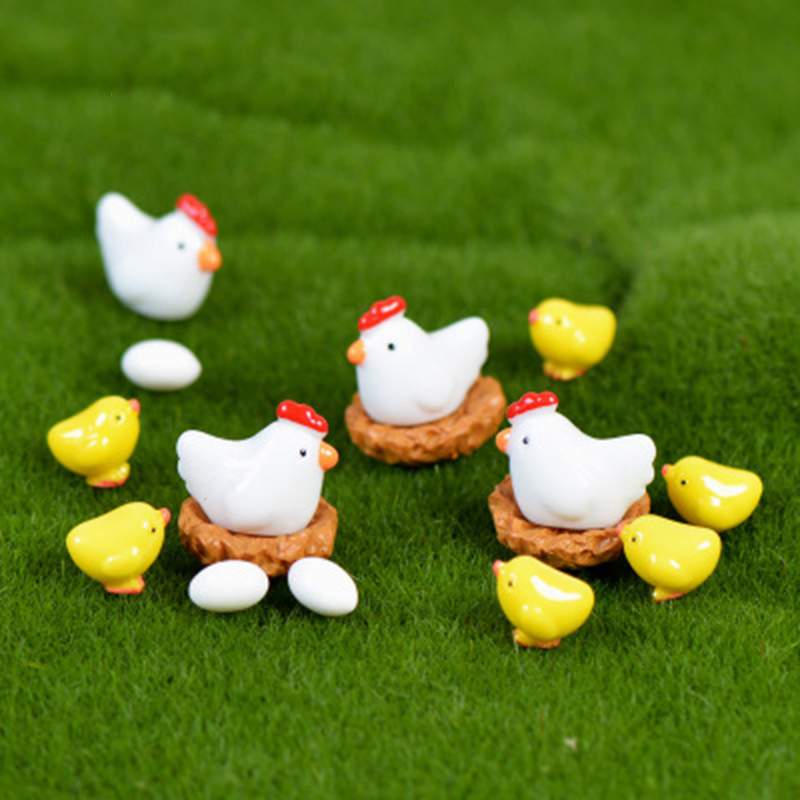 ZOCDOU 10 Pieces Hen Chicken Chick Egg Nest Small Pasture Statue Figurine Micro Crafts Ornament Miniatures DIY Room Garden Decor