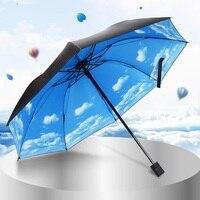 Women Umbrella Lady Nice Folding Parasol Jacquard Sky Blue Delicate Multi-function Anti-uv Sunny and Rainy Umbrella