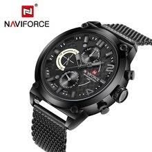 Naviforce Luxe Merk Man 3ATM Waterdicht Klok Mannen Analoge Quartz 24 Uur Datum Horloges Mannen Sport Volledige Steel Horloge