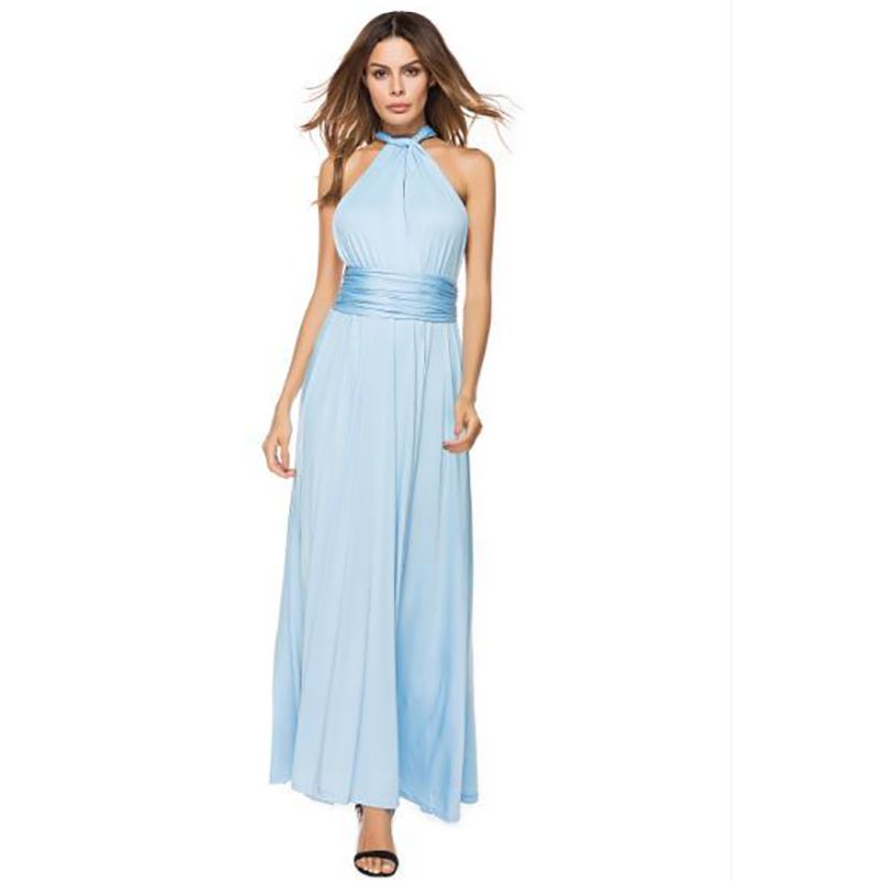 Multi-wear multi-rope cross backless high waist sexy bandage solid color long dress milk silk skirt free shipping
