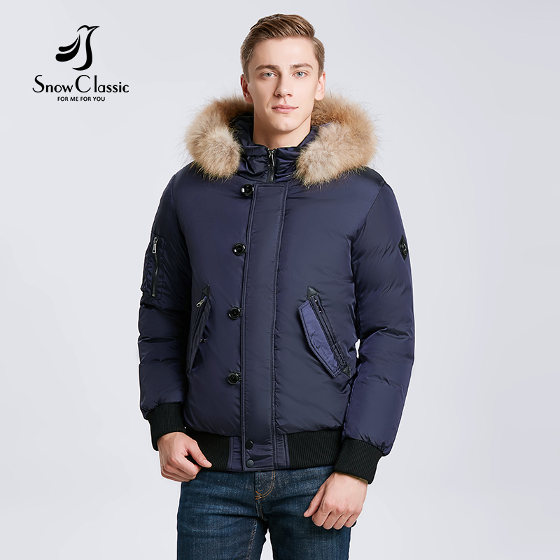 Snowclassic 2018 зимние мужские куртки для волос сгущающие теплые модные деловые случайн ...