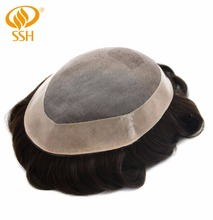 SSH Remy Hair Mono Lace Frontal Men Replacement Breathable Toupee Mens Male Wig