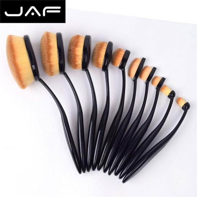 JAF 10 Pcs Forma Escova Conjunto Escova Cosmética Fundação BB Creme Em Pó Oval Super Elástica Cabo de Plástico Ferramentas de Beleza Maquiagem