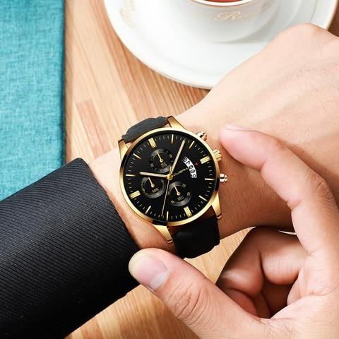 Mens Wrist Watch Stainless Steel Case Leather Band Quartz Analog watch man watches mens 2019 relogio masculino Karachi
