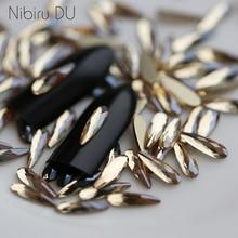 20 Pcs Champagne Glass Rhinestone Drops Mirror Shaped Crystal Nail Rhinestones For Nails Art Charms Decorations Stones