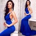 Venda quente Spaghetti cristal vestidos azul Royal sereia Prom vestido Sexy aberto vestido elegante