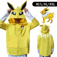 Pokemon Go Jolteo Designer Winter Warm Coat Sweater Hoodie Thermal Cosplay Cute With Ears For Lovers
