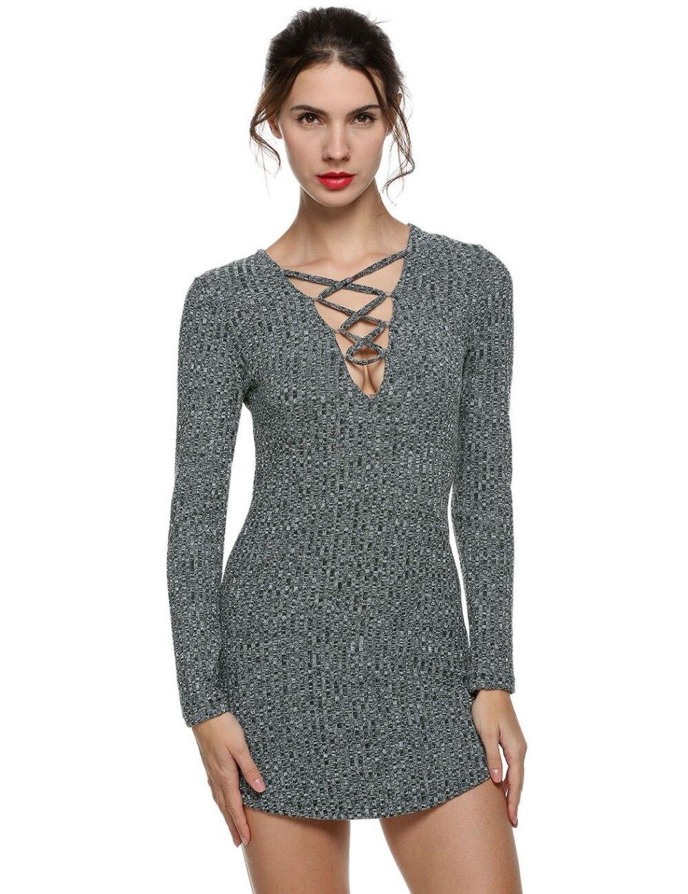37eda818 Lace Up Bodycon Dress Long Sleeve | Saddha