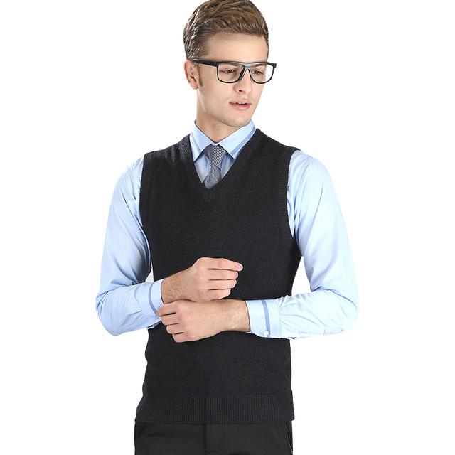Otoño e Invierno de Los Hombres Suéter de Color Sólido de Alta calidad Con Cuello En V Punto Causual Chalecos Chalecos de Los Hombres Más Tamaño