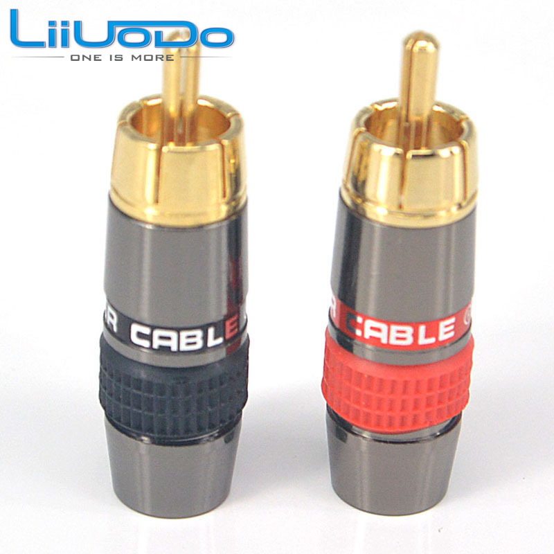 6pcs/lot DIY New RCA Plug HIFI Goldplated Audio Cable RCA Male Audio Connector Gold Adapter For Cable dsha new hot 10pcs gold tone male rca plug audio connector metal spring adapter