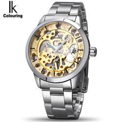 IK раскраски Марка Механический ручной взвод часы ногтей Весы полые задней крышки световой Hardlex полный Сталь Бизнес Для мужчин часы