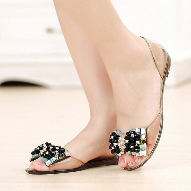 HEE GRAND Women Sandals Summer Style Bling Bowtie Peep Toe Jelly Shoes Woman Crystal Flats Ladies 4 Colors Size 35-40 XWZ3283