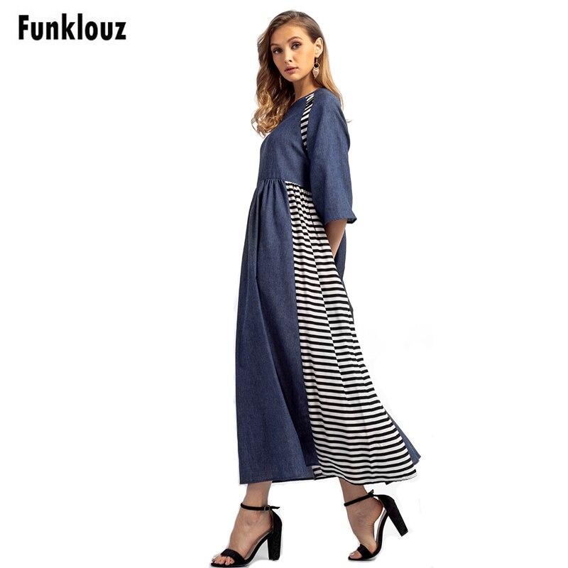 Funklouz Vintage Striped Denim Patchwork Dresses Women Islamic Muslim Maxi Robe Spring Summer A-Line Loose Long Dress