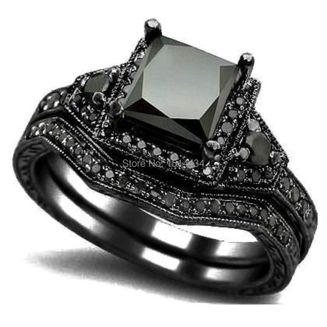 sz 4 12 black rhodium princess cut onyx wedding engagement ring set propose statement bridal - Black Diamond Wedding Ring Set