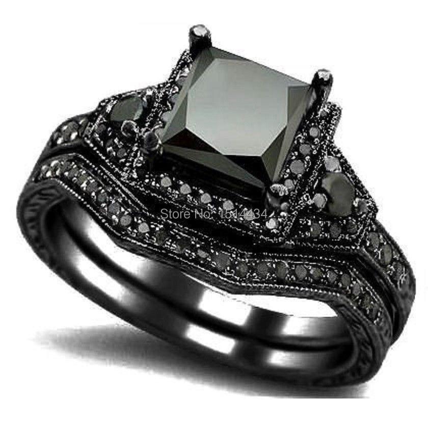 sz 4 12 black rhodium princess cut onyx wedding engagement ring set propose statement bridal - Black Wedding Ring Set