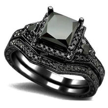 sz 4 12 black rhodium princess cut onyx wedding engagement ring set propose statement bridal - All Black Wedding Rings