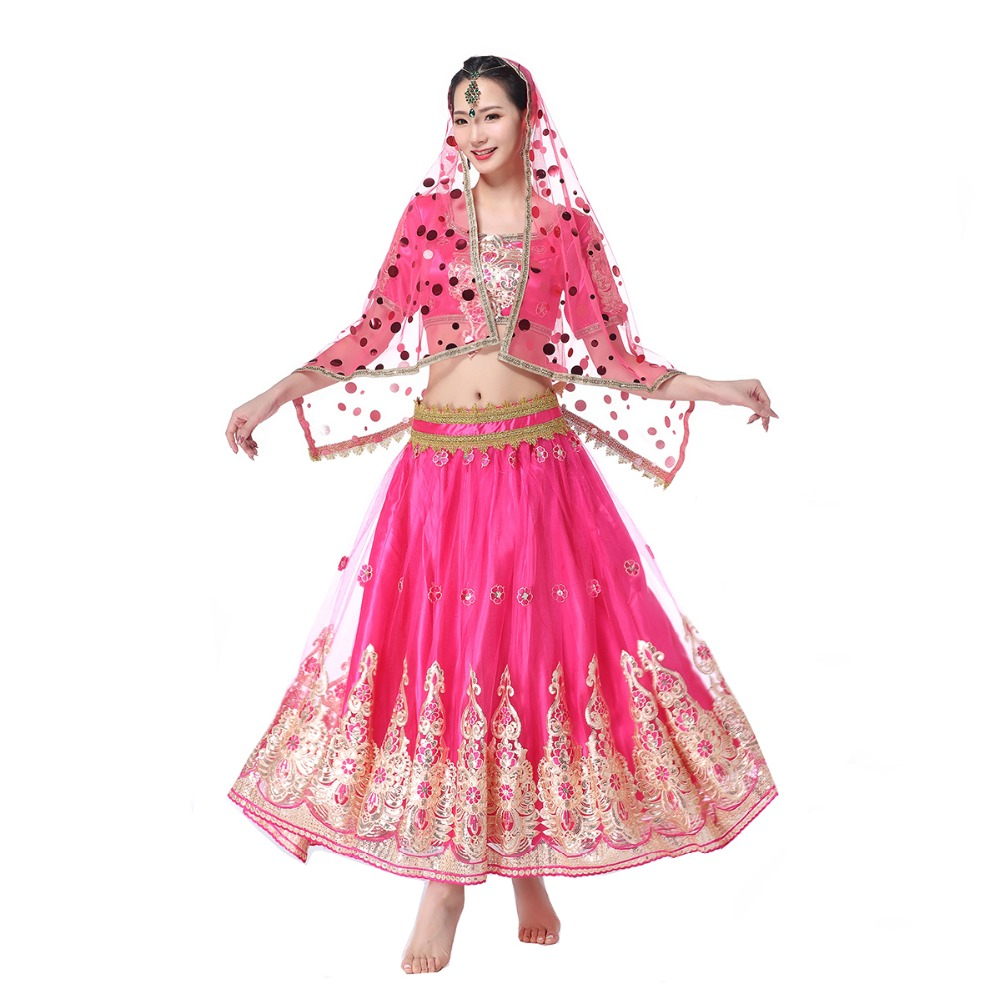 New Dancewear Women Belly Dance Indian Dance Outfits Organza Embroidered Coins Bollywood Costume 3pcs Set (Top+Belt+Skirt)