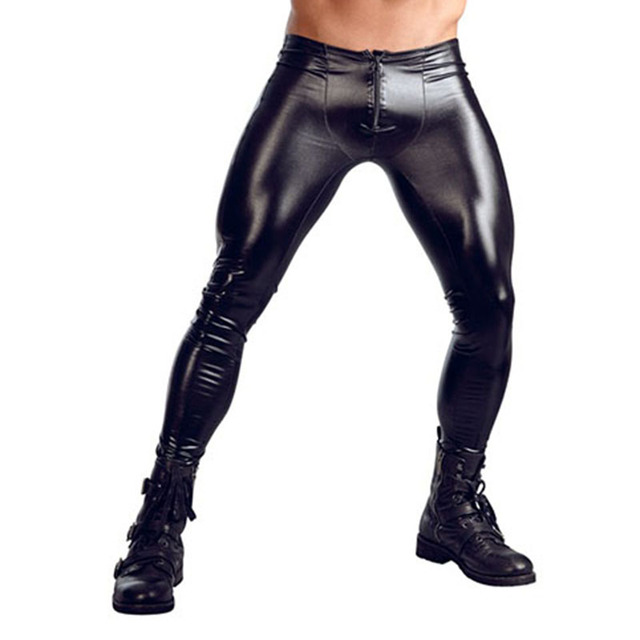 Sexy Men Skinny Faux PU Leather Pants Wetlook Black Trousers Stage Performance Zipper Front Leather Pants Sexy Vinyl Leggings