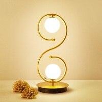 Современные 2 головки шар стеклянный стол, лампа творчески теплые спальня Bedlamp гостиная украшения стола za81828