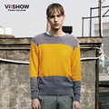 Viishow New Men Stripe Sweater Korean Style Knitting Sweater Slim Fit Pullover Men Round Neck Pullover Men Clothes Suits
