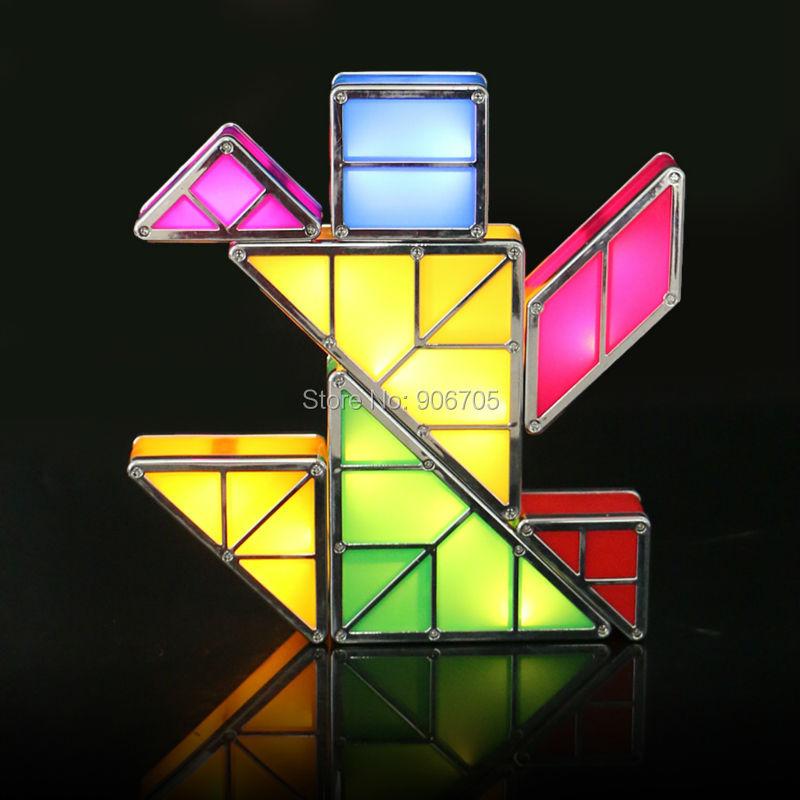 Yaratıcı kombinasyonu ile Tangram Manyetik oyuncaklar ışık - Yapı ve İnşaat Oyuncakları - Fotoğraf 6