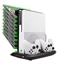 Vertical Stand Cooling Fan Dual Controller Charging Station with Game Storage Rack for Xbox One Slim