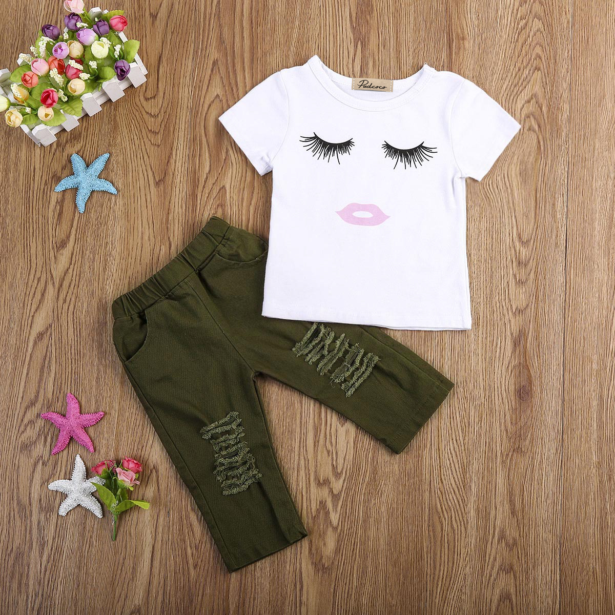 b34b00191df76 2Pcs Cute Newborn Toddler Baby Girls Eyelashes Tops T shirt Army Green Pants  Leggings Outfits Clothing Sets 1 4Y-in Clothing Sets from Mother   Kids on  ...