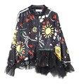 LSC002 mujeres patrón de Impresión de alta calidad de hilo de costura de manga larga abrigos sueltos