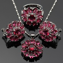 Flower Lan  2016 New  Jewelry Red Garnet  AAA Zircon For Necklace Pendant /Earring /Ring Free Shipping