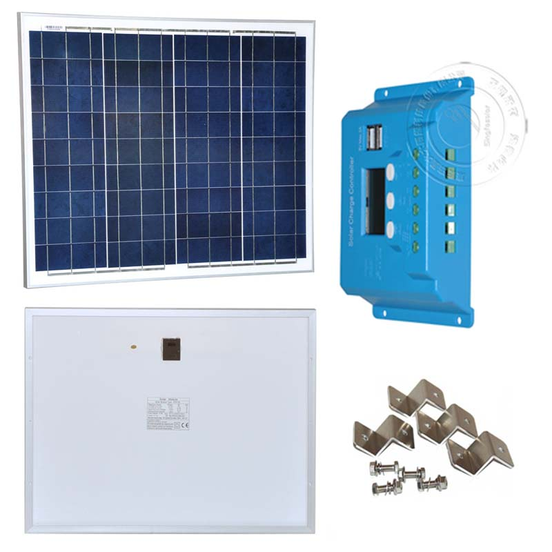 Solar Panel Kit 50W 18V 12V Solar Battery Solar Charge Controller 12V 24V 10A PWM Dual USB 5V 1A For Phone Z Barcket Mounting in Solar Cells from Consumer Electronics