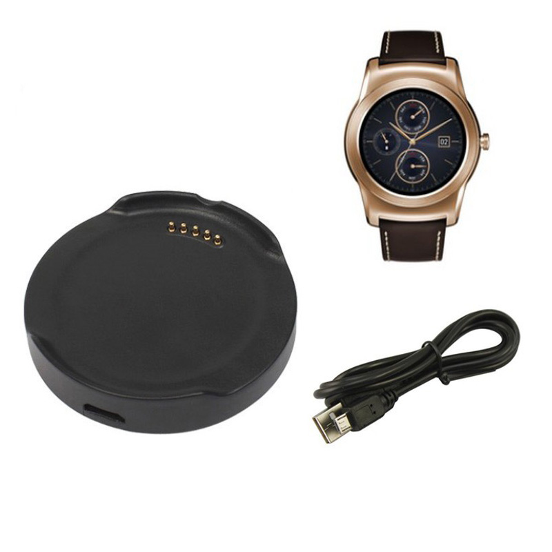 Para LG G Watch Urbane W150 Cargador Smart Watch Dock Cradle con cable de carga micro USB Adaptador de escritorio negro