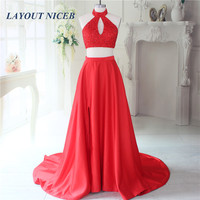 2017 Charming Two Pieces Red Prom Dresses A Line High Neck Sparkly Beads Formal Evening Dress Gowns Sexy Party Dresses
