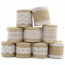 Lucia artesanía 2y/Lote 5-6cm cinta de arpillera yute con ropa de encaje adornos de boda fiesta pastel suministros V0602