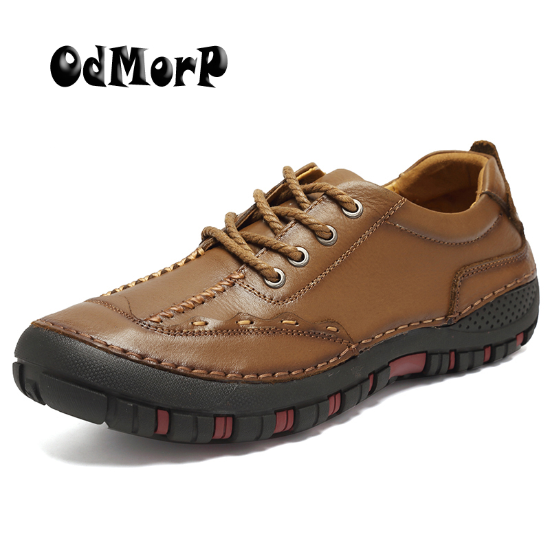ODMORP Men Shoes Casual Genuine Leather Shoes Autumn High Quality Handmade Footwear Comfort Shoes For Men Nonslip Rubber 2017 spring autumn breathable white wild men casual shoes 100% handmade pigskin leather comfort men shoes high quality size40 44