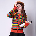 Free Shipping Women Ladies Long Sleeve Colorful Stripes Rainbow O-neck Button Autumn Tops Knitting Knitwear Sweater Y1023-81D