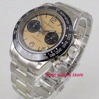 39 мм Парнис кварцевые мужские часы Полный Хронограф orange циферблат светящиеся сапфировое стекло черный ободок секундомер мужчин 1198