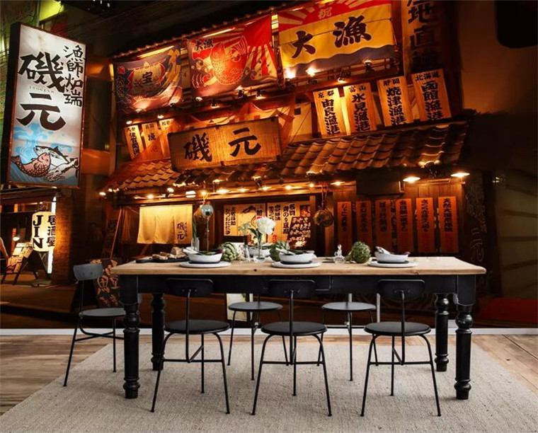 Home Improvement Japanese Style Street Night 3d Wallpaper Mural Papel De Pared,living Room Sofa Tv Wall Kitchen Wall Papers Home Decor Restaurant Fast Color