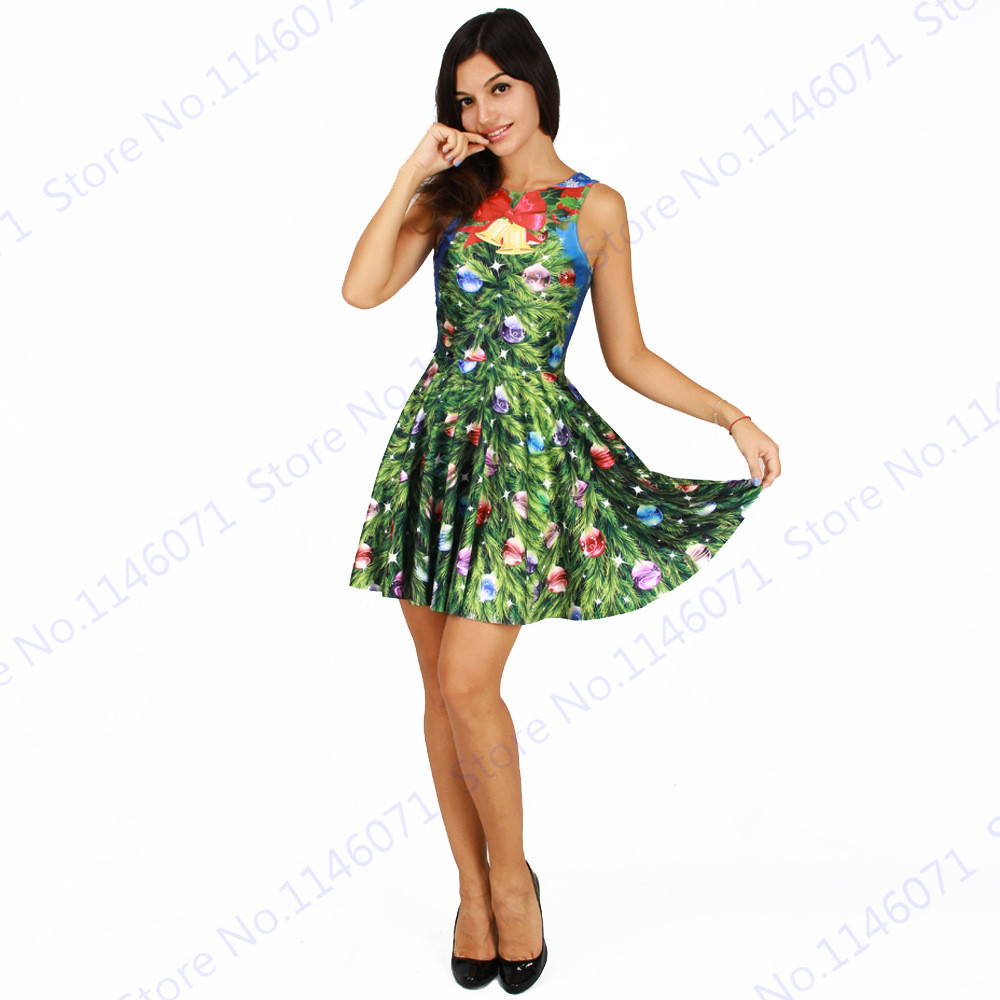 green christmas trees jingle bells skater dresses reversible sexy women christmas party dresses mini dress pleated tennis dress in tennis dresses from