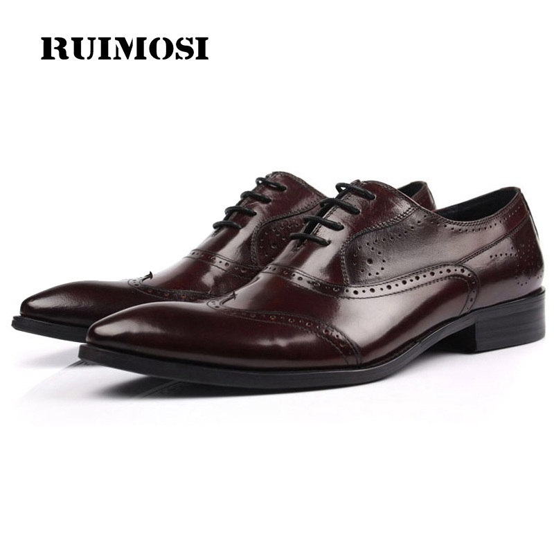 RUIMOSI British Style Man Wing Tip Brogue Shoes Genuine Leather Bridal Oxfords Pointed Toe Men's Dress Flats For Wedding SF25