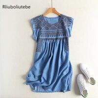 high waist pleated sleeveless mini soft jeans dress women summer tank embroidery short a line denim beach dress casual blue