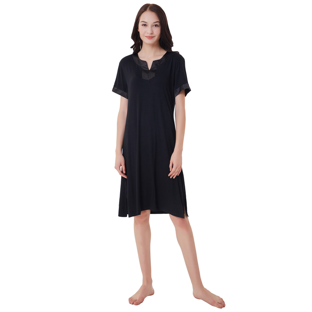 hot summer Women dress Comfy Rayon Short Sleeve Side Split Nightgown Sleep Dress Sleepwear vestidos  2018 new