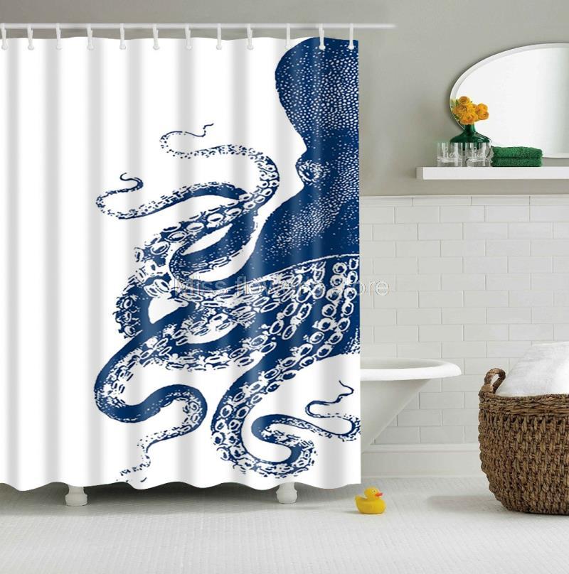 Octopus Kraken Design Custom Shower Curtain Bathroom Waterproof Mildewproof Polyester Fabric With 12 Hooks 150*180cm 2 Colors ...
