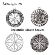 Lemegeton Icelandic Magic Staves Necklaces & Pendants for Jewelry Making DIY Accessories for Men and Women Vintage Metal Tags