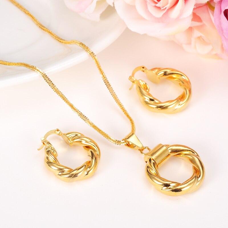 Dubai Gold Ethiopian Necklace Earrings African Sets Gold Plated Jewellery For Israel Sudan Arab Middle East Women gold earrings for women