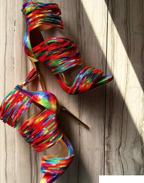 new fashion colorful leather strappy high heel sandal summer open toe cutouts gladiator sandal 2017 thin heels shoes new fashion colorful leather strappy high heel sandal summer open toe cutouts gladiator sandal 2017 thin heels shoes
